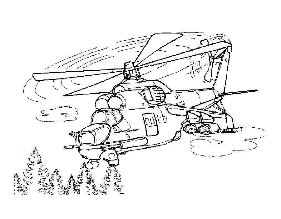 Раскраска Вертолет | Раскраски военная техника