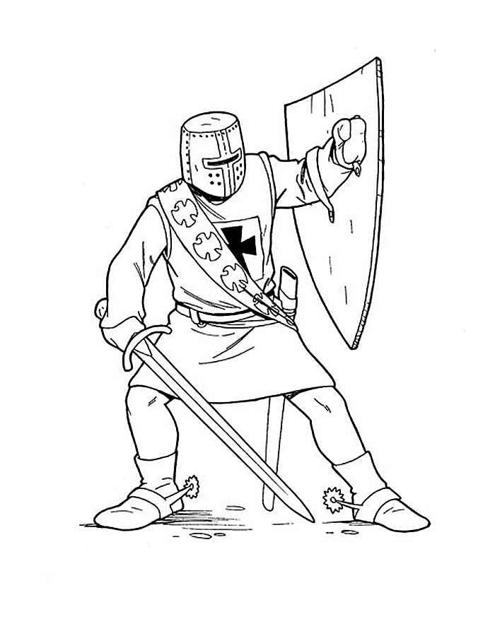 Раскраска Крестоносец | Раскраски рыцарь