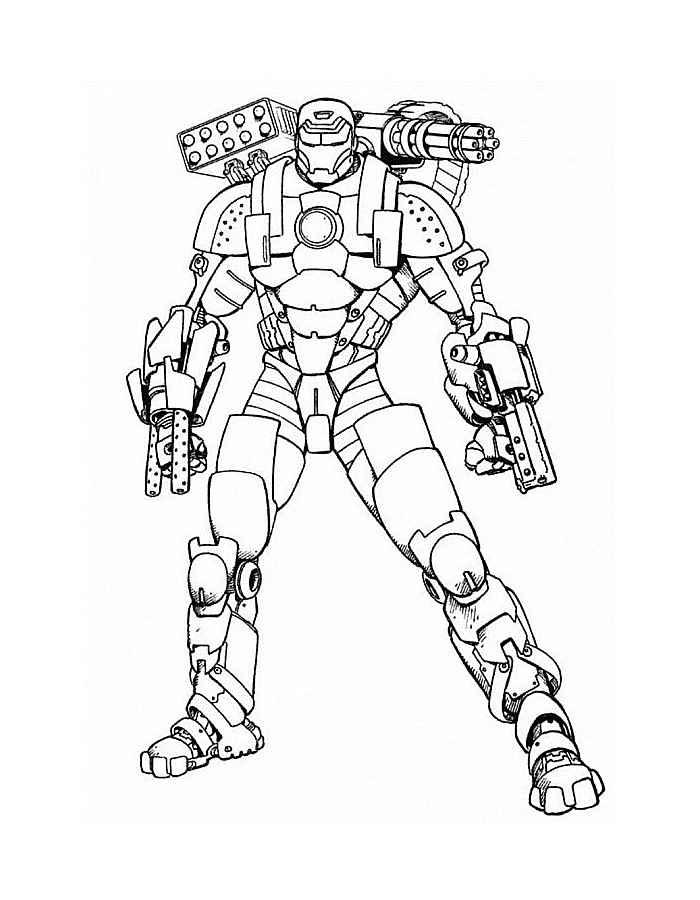 Раскраска Железный человек полный костюм Раскраски