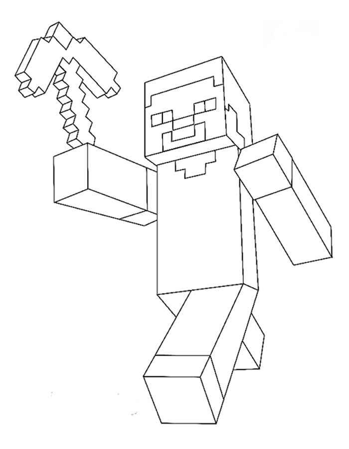 Раскраска Майнкрафт человечек бежит | Раскраски майнкрафт