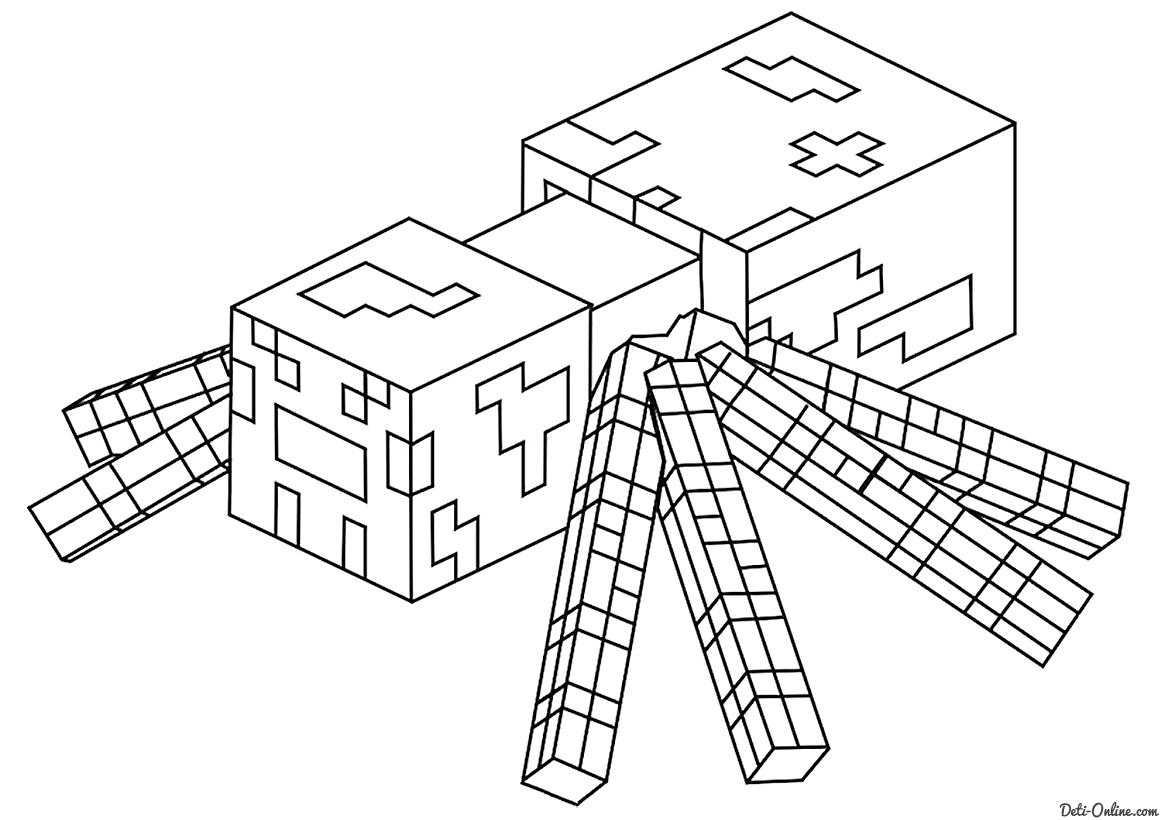 раскраска паук раскраски майнкрафт