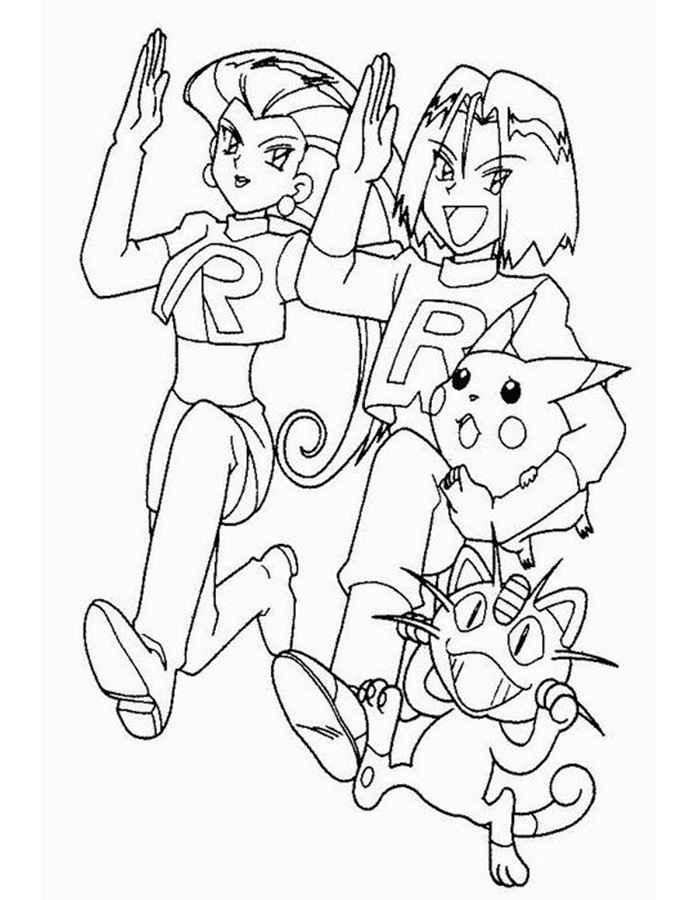 Раскраска Команда R похитила Пикачу | Раскраски Покемоны