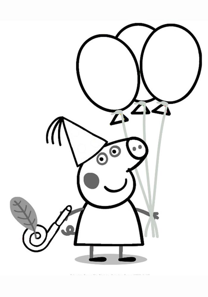 Раскраска Свинка Пеппа с шариками | Раскраски Свинка Пепи