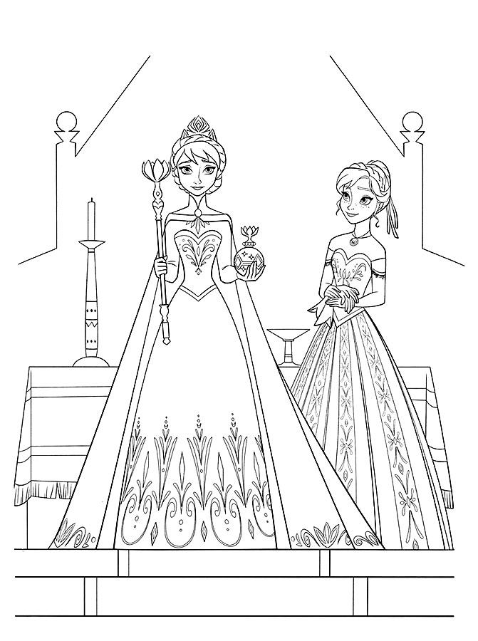 Раскраска Золотая Анна и Эльза   Раскраски Холодное Сердце Холодное Сердце Рисовать