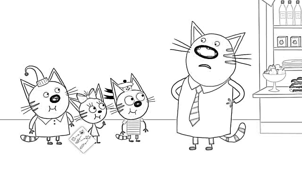 Раскраска Три кота и папа | Раскраски Три кота