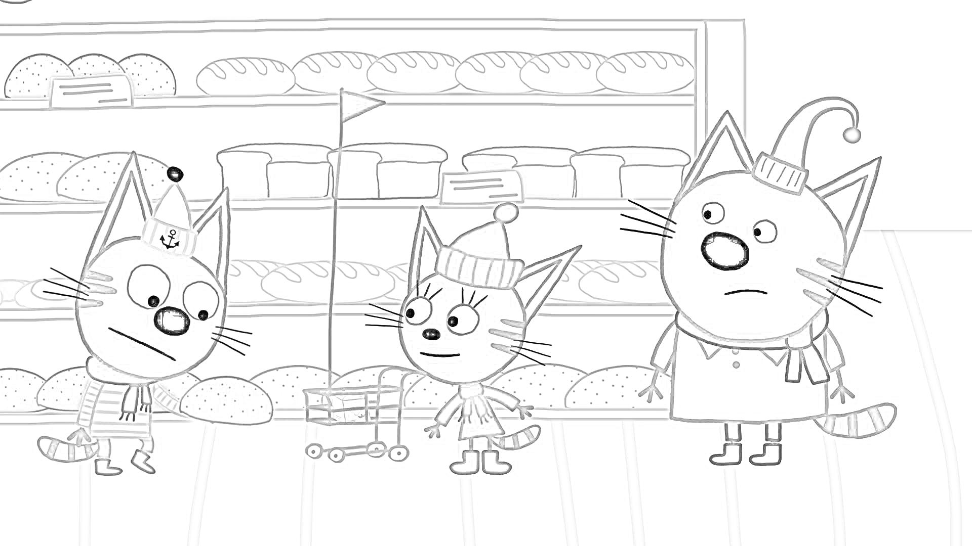 раскраска коржик и компот раскраски три кота