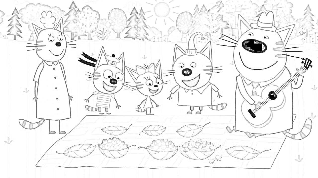 Раскраска Три кота на пикнике | Раскраски Три кота