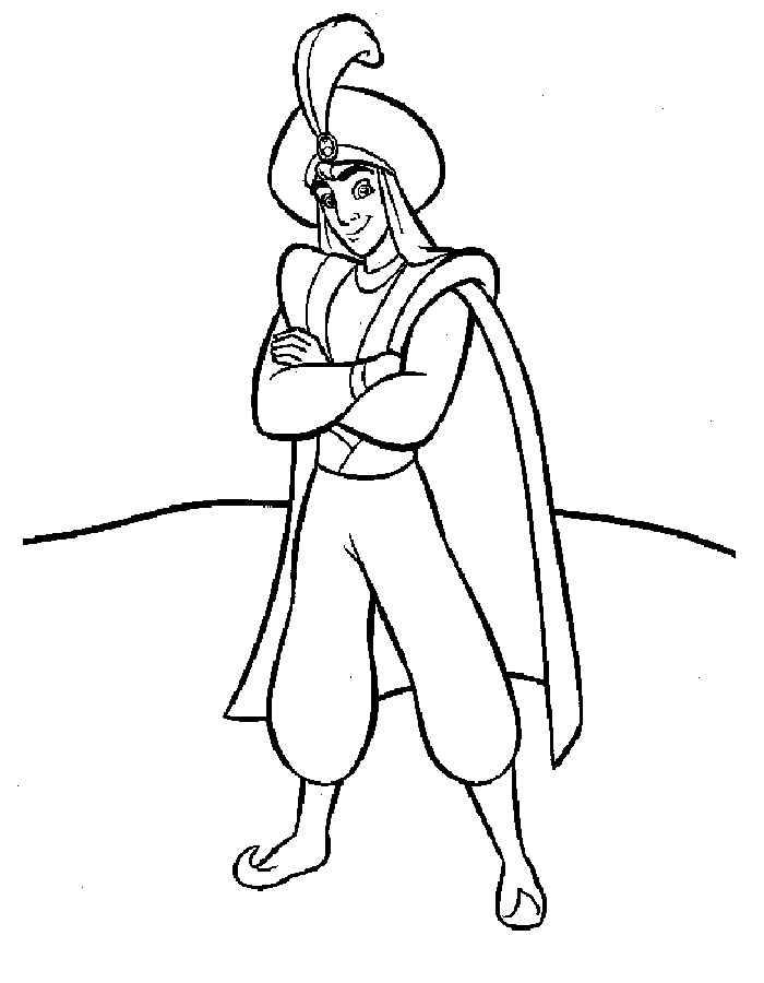 Раскраска Алладин в наряде принца | Раскраски алладин