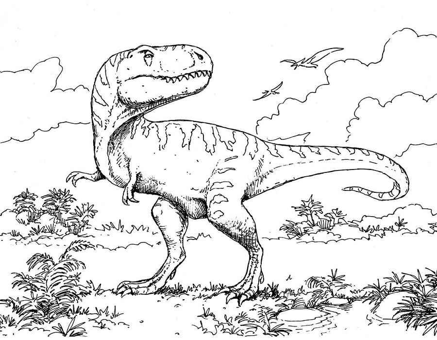 Раскраски онлайн с динозаврами