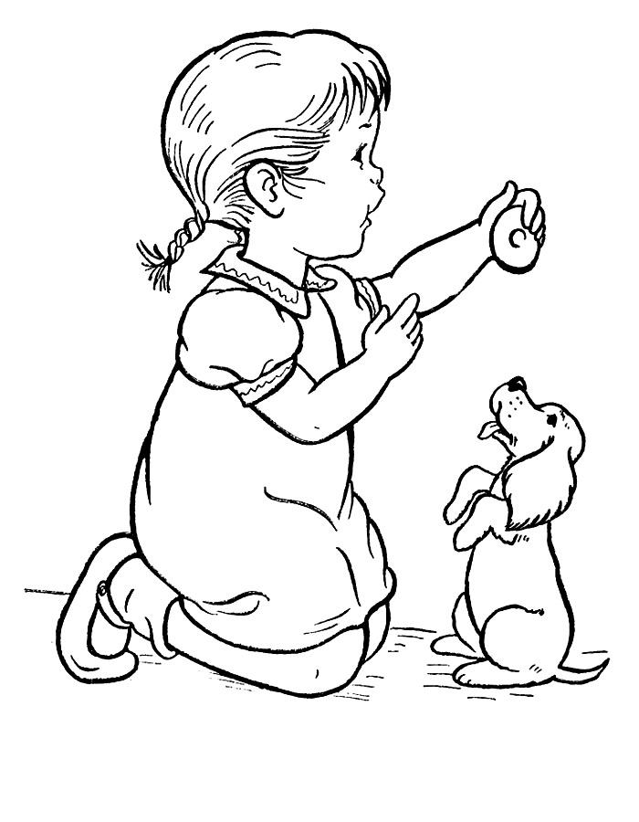 Раскраска Щенок и ребенок | Раскраски Щенок