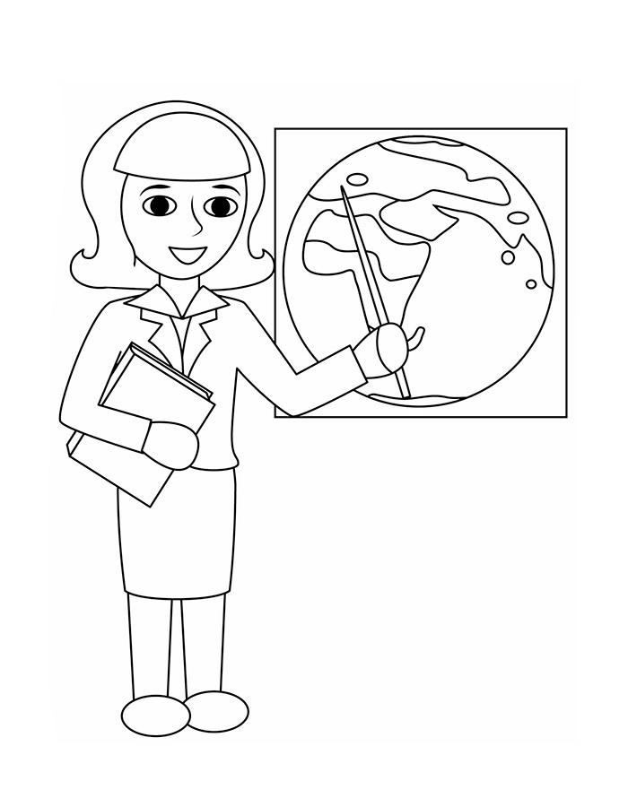 Раскраска Учительница на первом уроке | Раскраски 1 сентября