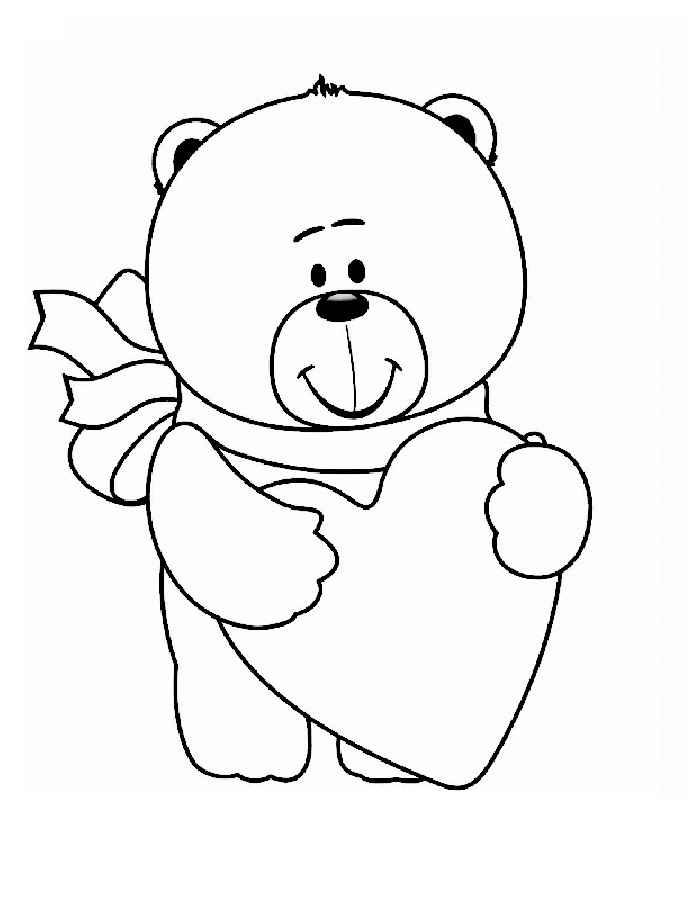 раскраска влюбленный мишка раскраски 14 февраля