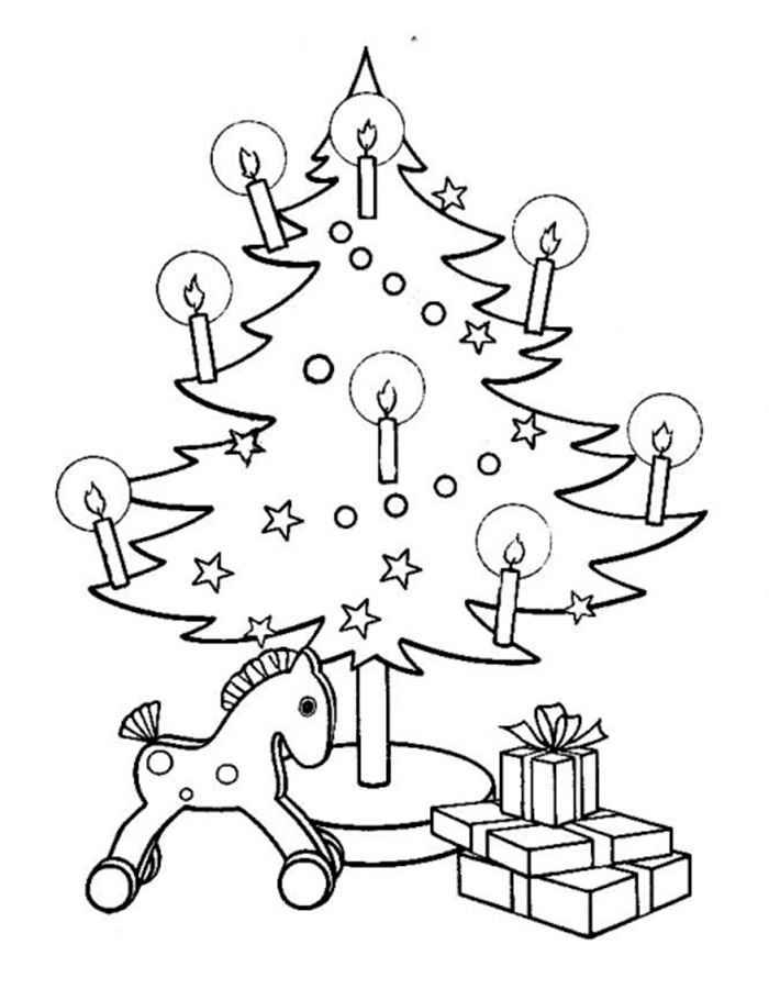 Раскраска Елка и лошадка   Раскраски Новый год