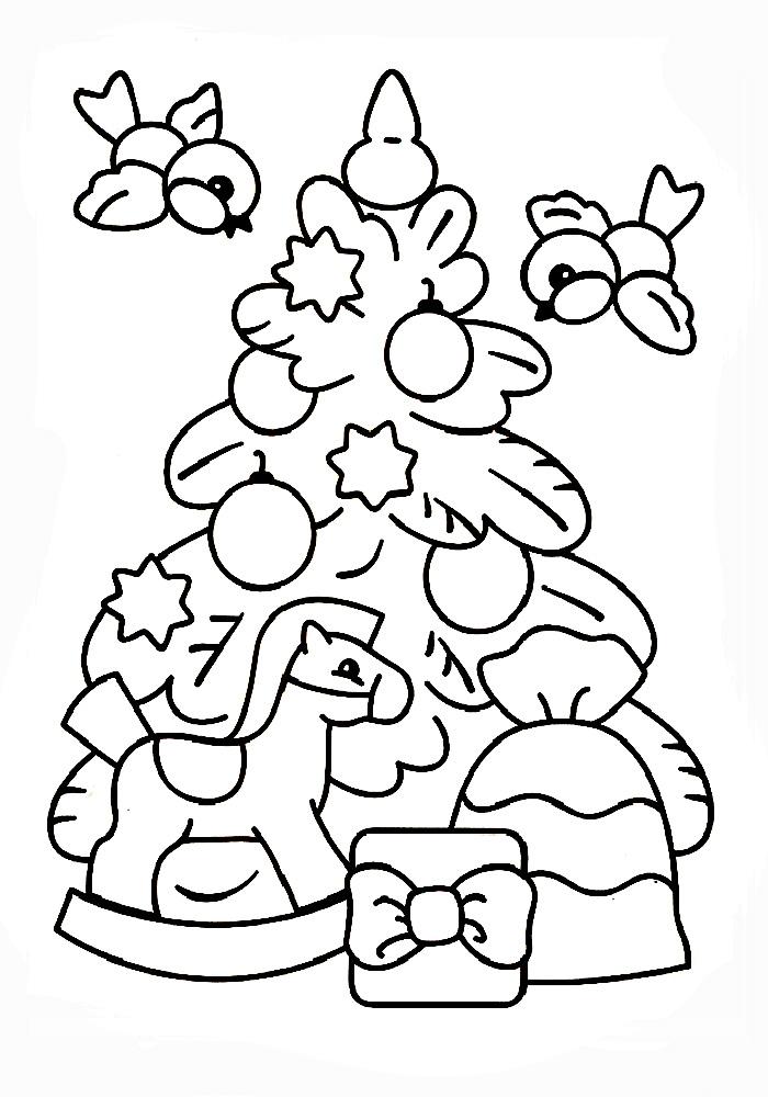 Раскраска Украшенная новогодняя елка | Раскраски Новый год