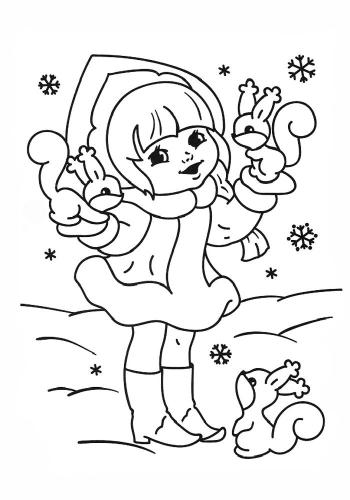 Раскраска Снегурочка и белочки | Раскраски Новый год