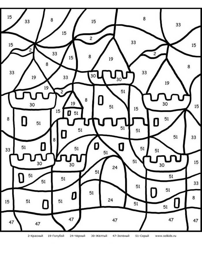 раскраска по цифрам крепость раскраски по цифрам