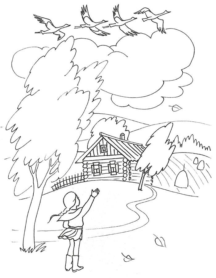 Раскраска Легкая Осень   Раскраски Осень