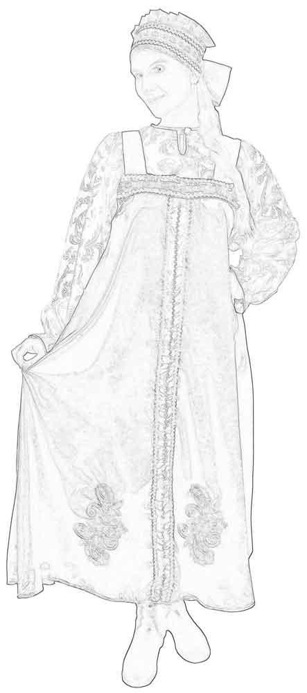 Девушка в русском сарафане раскраска