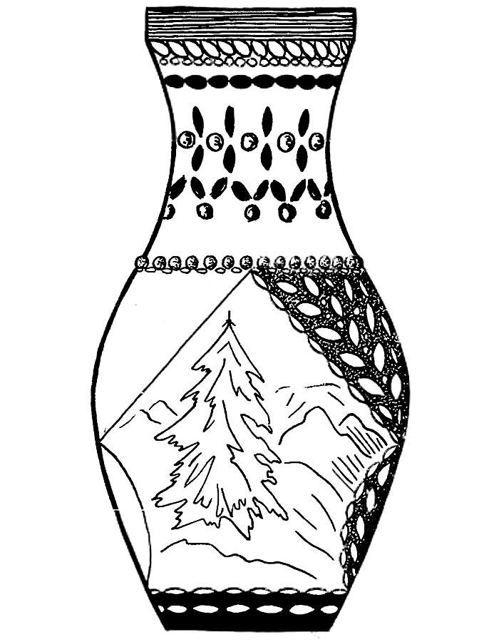 ваза раскраски распечатать