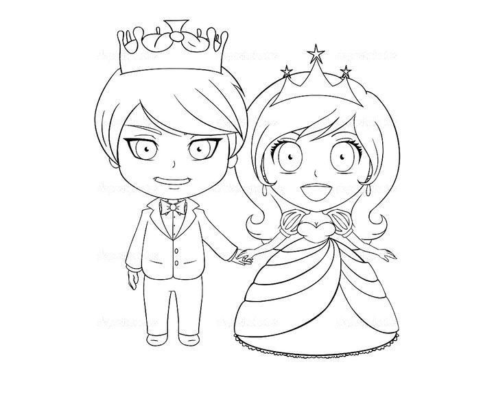 Раскраска Принц и принцесса в детстве | Раскраски принцы