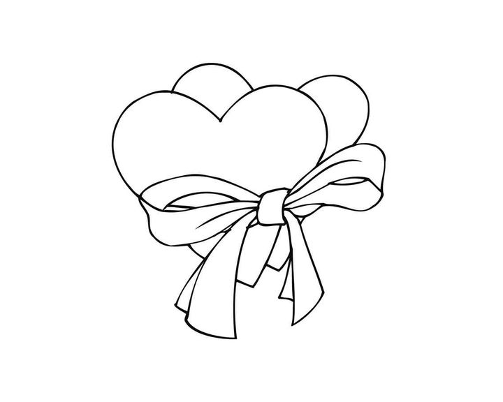 раскраска два сердца в ленточке раскраски сердечки
