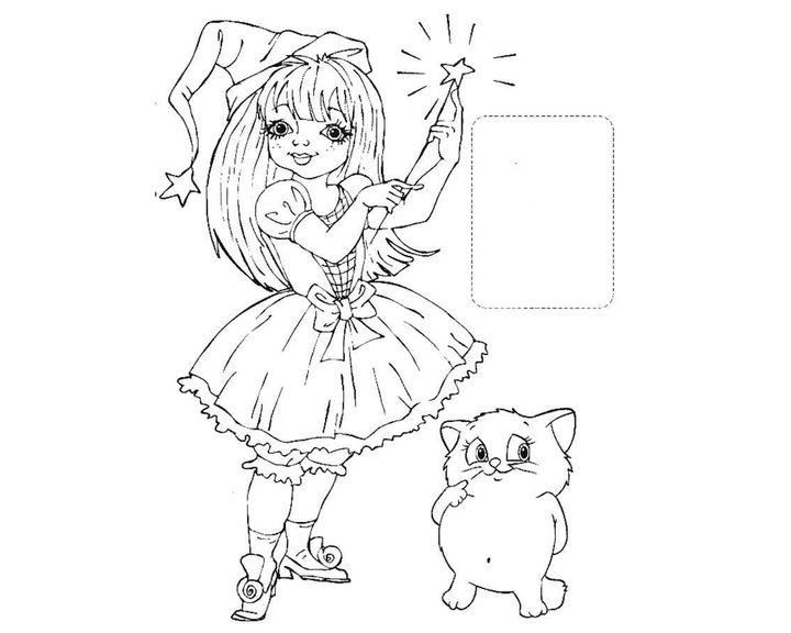 Раскраска Фея и котик | Раскраски феи