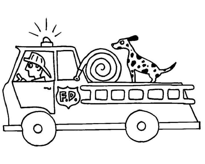 раскраска пожарная машина с собакой раскраски пожарная машина