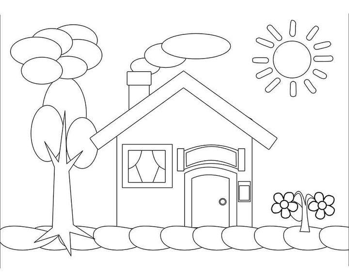 Раскраска Дом и дерево   Раскраски здание