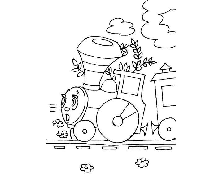 паровозик из ромашково картинка распечатать маленьких