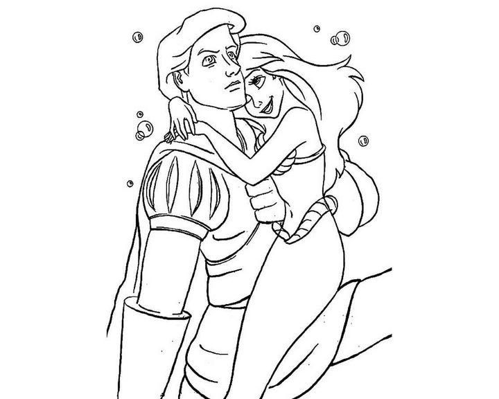раскраска принц эрик и ариэль раскраски русалочка
