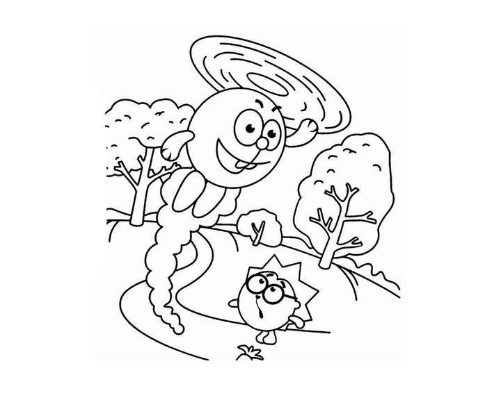 раскраска крош летает на ушах раскраски смешарики