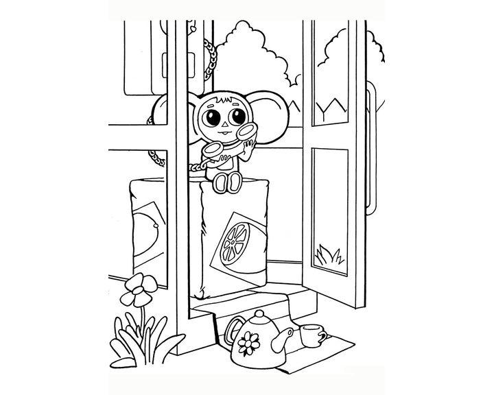 Раскраска Чебурашка с трубкой | Раскраски Чебурашка и ...