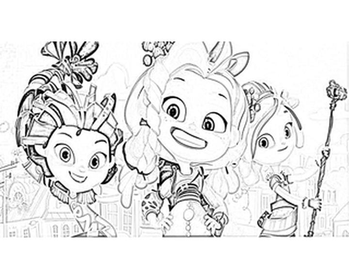 Раскраска Аленка, Варя и Снежка|Раскраска Сказочный патруль