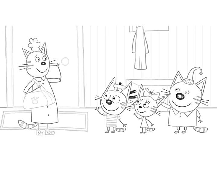 раскраска мама уходит на работу раскраски три кота