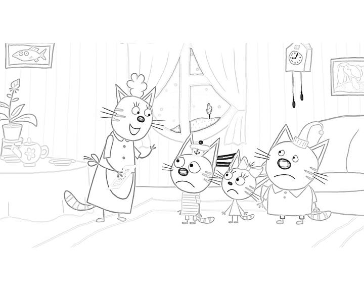 раскраска мама дарит подарок раскраски три кота