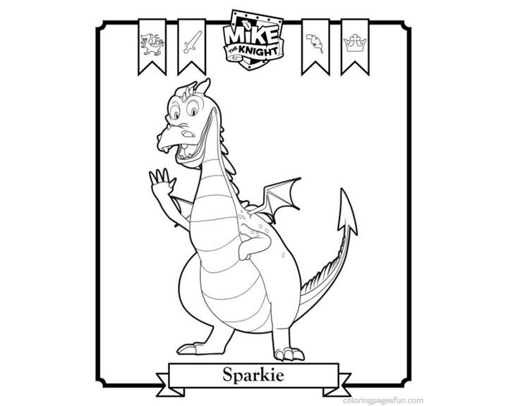 Раскраска дракончик Спарки | Раскраски Рыцарь Майк