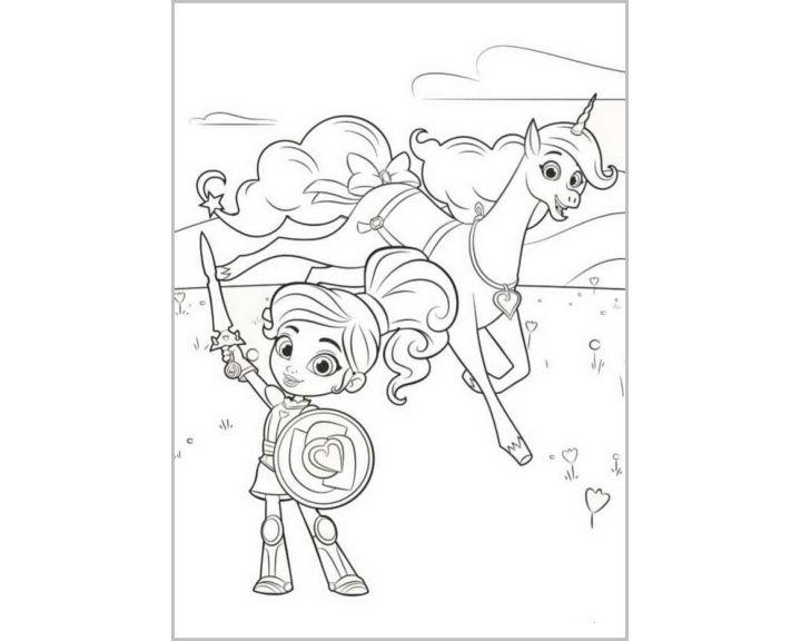 Нелла со щитом|Раскраски Нелла отважная принцесса