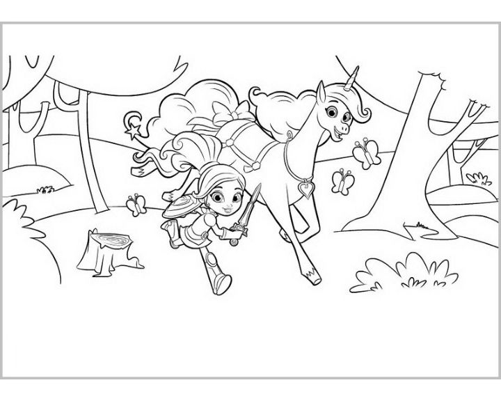 Нелла бежит по поляне|Раскраски Нелла отважная принцесса