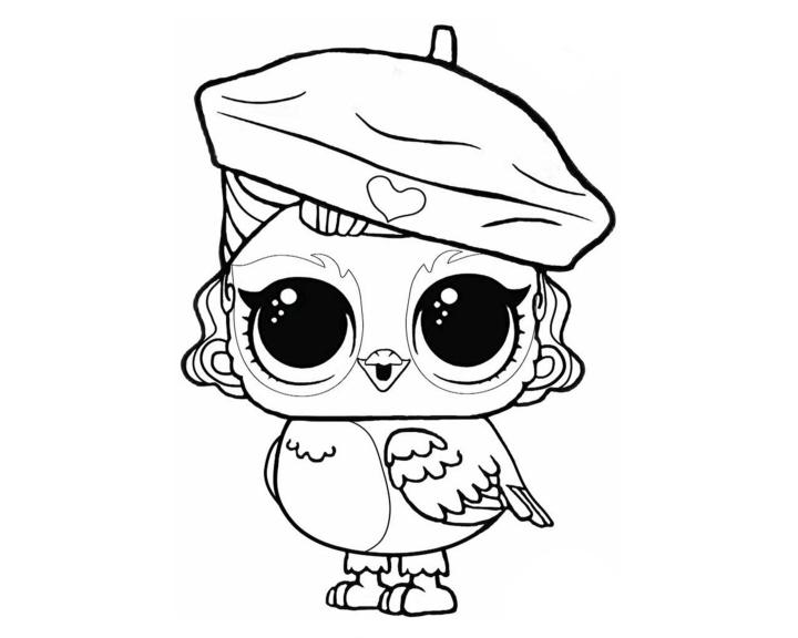 Раскраски куклы ЛОЛ|птичка художник