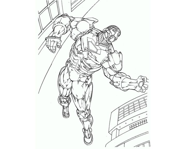 Раскраска Железный человек летит по кругу   Раскраски ...