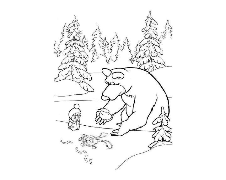 красивые как раскрасить зайца маша и медведь картинки картинки фото