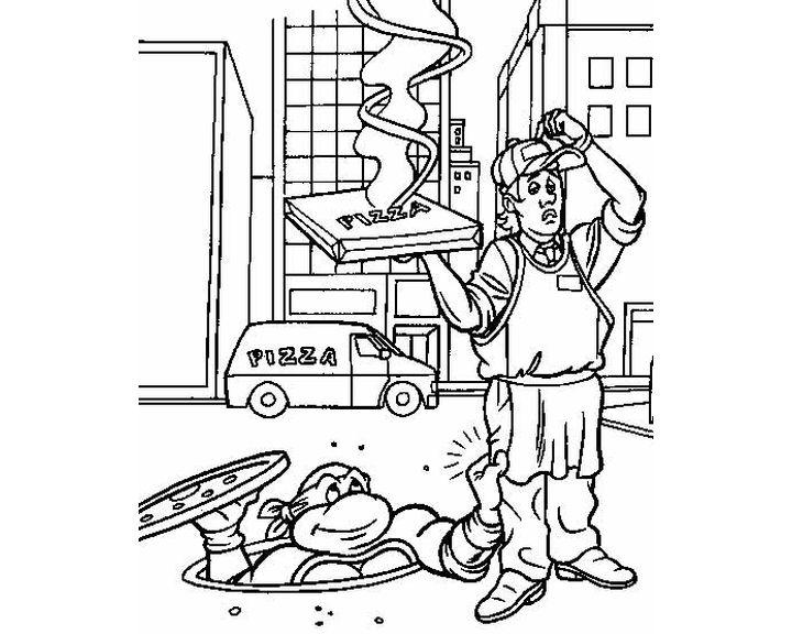 Раскраска Черепашка забирает пиццу | Раскраски Ниндзя ...