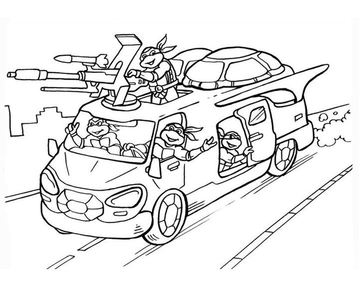 Раскраска Ниндзя-черепашки на машине | Раскраски Ниндзя ...