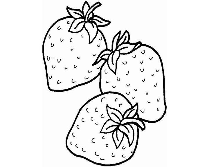 Раскраска Три клубники | Раскраски Овощи и фрукты