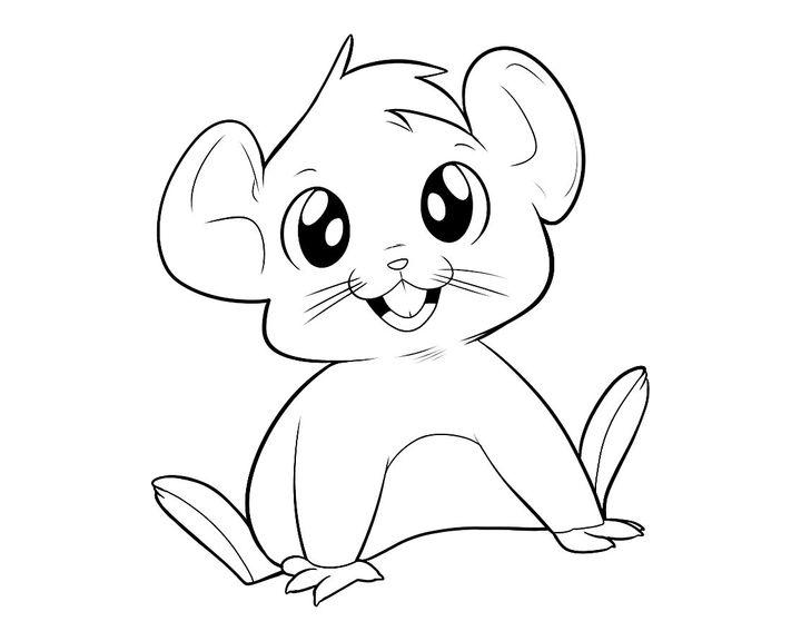 Раскраска Мышь с большими глазами | Раскраски Мышь