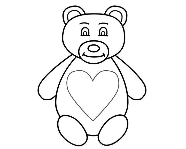 Картинки мишка с сердечком раскраски, зона