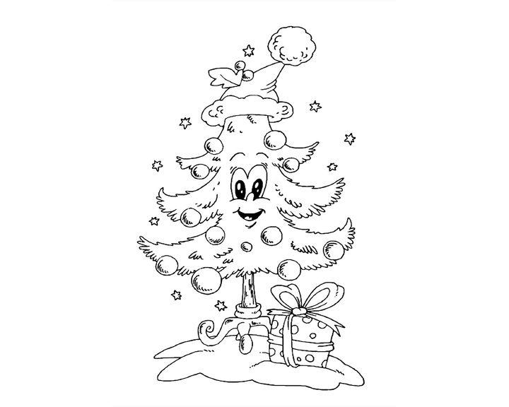 Раскраска Живая новогодняя елка   Раскраски Новый год
