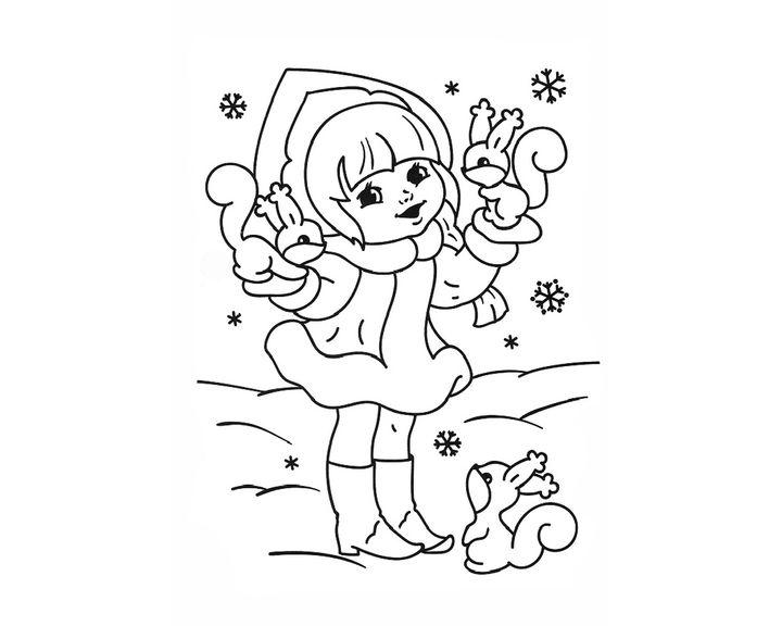 раскраска снегурочка и белочки раскраски новый год