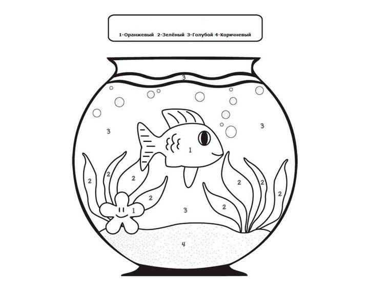 Картинка для раскрашивания аквариум