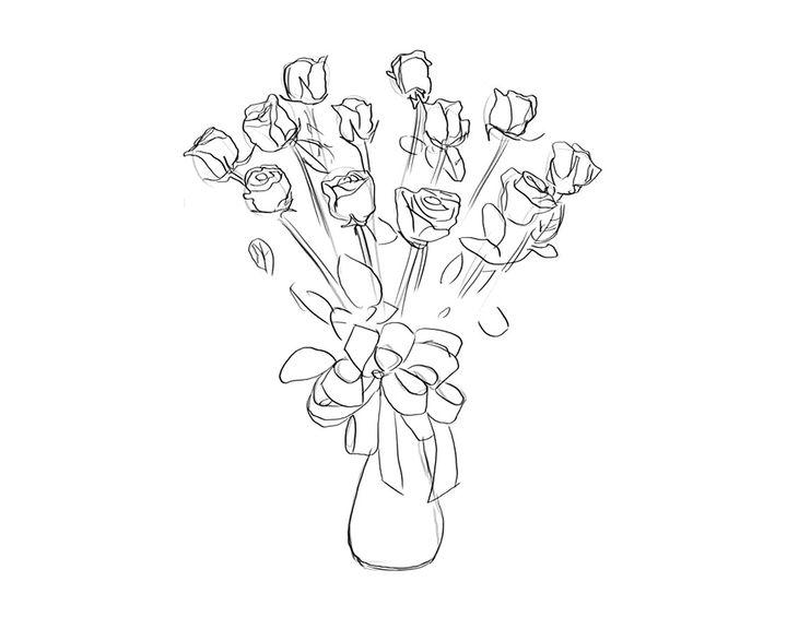 Картинки для дня учителя карандашом цветы легкие